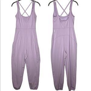 NEW Free People Movement Lilac Purple Cross Back Jumpsuit - Size Small